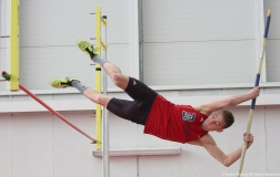 University of Detroit Mercy freshman Joseph Lietzow competes in the pole vault on Saturday, Feb. 3, 2018.
